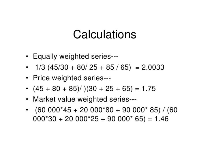 Equity index weighting methods