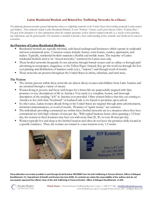 Latino Residential Brothels and Related Sex Trafficking Networks At-a-GlanceThe following document provides general inform...