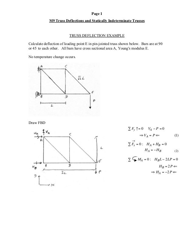 Page 1 M9 Truss Deflections and Statically Indeterminate Trusses TRUSS DEFLECTION EXAMPLE Calculate deflection of loading ...