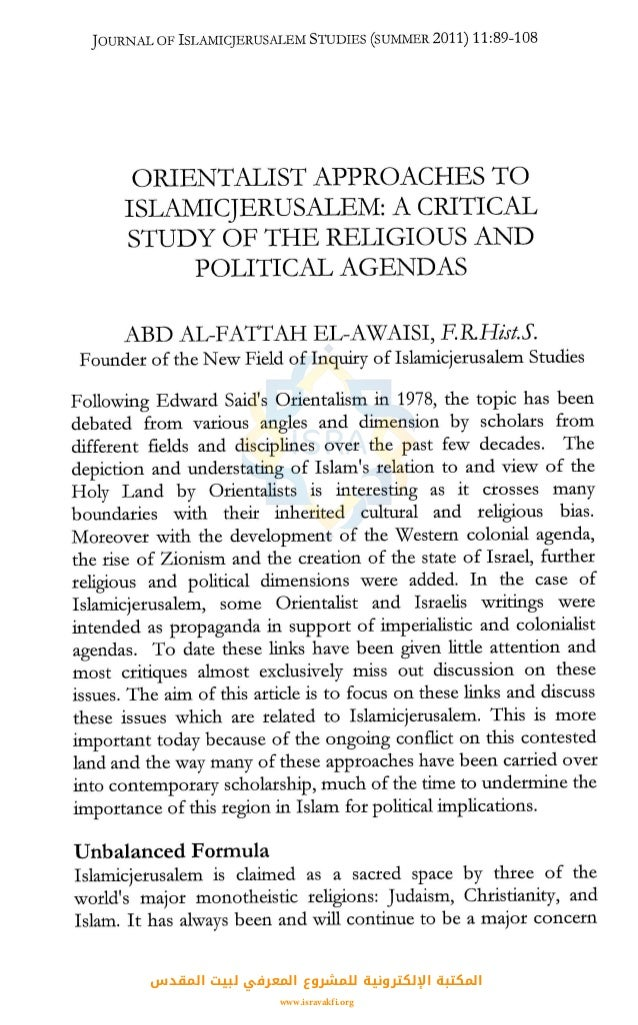 a study of orientalism It investigates new types of orientalism in the study of religious material culture  the traditional orientalist approach to understanding foreign.