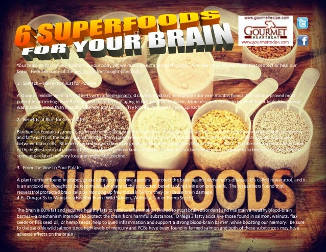 Your brain controls every function in your body yet we rarely give it a second thought. And, few of us choose foods that p...
