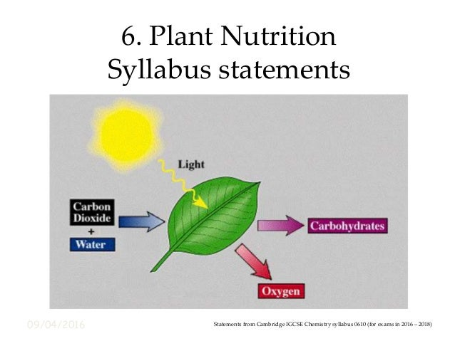 09/04/2016 6. Plant Nutrition Syllabus statements Statements from Cambridge IGCSE Chemistry syllabus 0610 (for exams in 20...