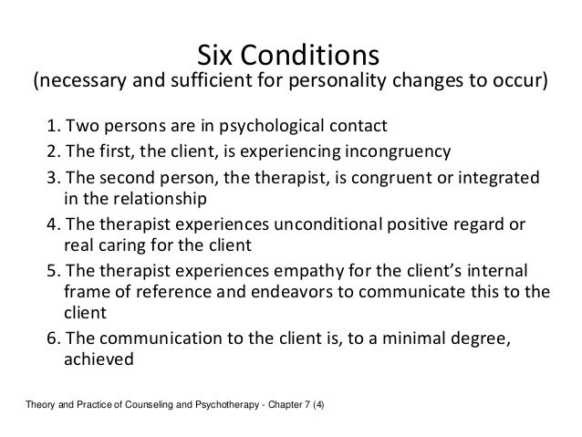 carl rogers core conditions `brian thorne has arguably become the uk's leading authority on carl rogers and context contribution conviction core conditions counselling and psychotherapy.