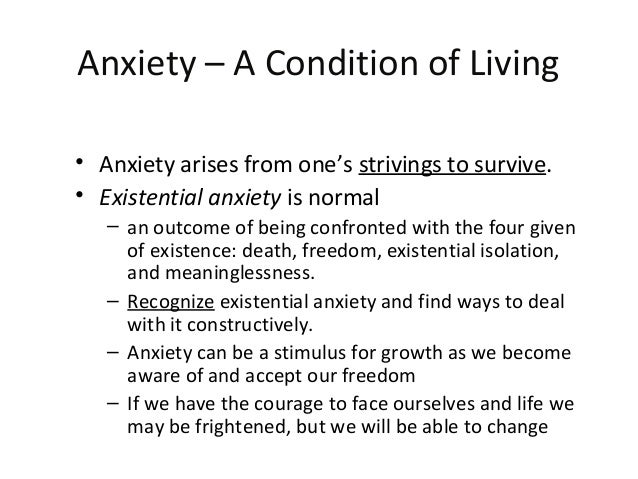 existential anxiety and neurotic anxiety The flight from anxiety through the avoidance of the anxiety-provoking or producing situation is decisive for the perpetuation of the anxiety-neurotic pattern of reaction frankl highlights the mechanisms involved thus: the symptom generates a corresponding phobia the phobia reinforces the symptom and the symptom thus intensified confirms .