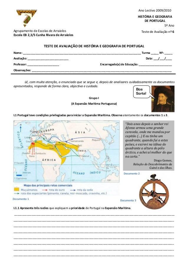 Agrupamento de Escolas de ArraiolosEscola EB 2,3/S Cunha Rivara de ArraiolosTESTE DE AVALIAÇÃO DE HISTÓRIA E GEOGRAFIA DE ...