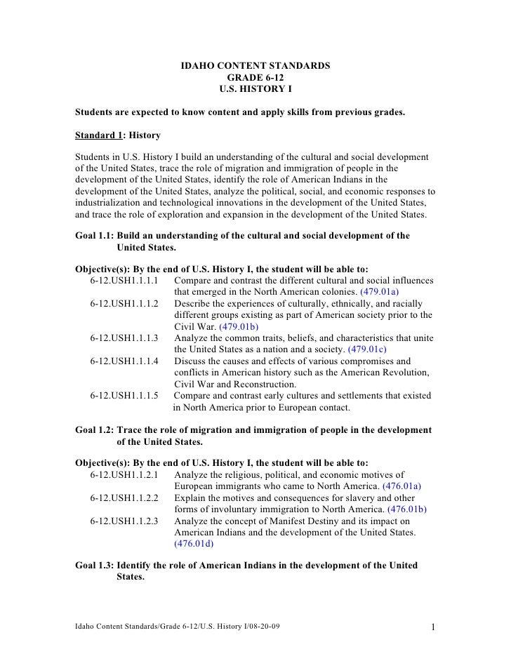 IDAHO CONTENT STANDARDS                                    GRADE 6-12                                   U.S. HISTORY IStud...