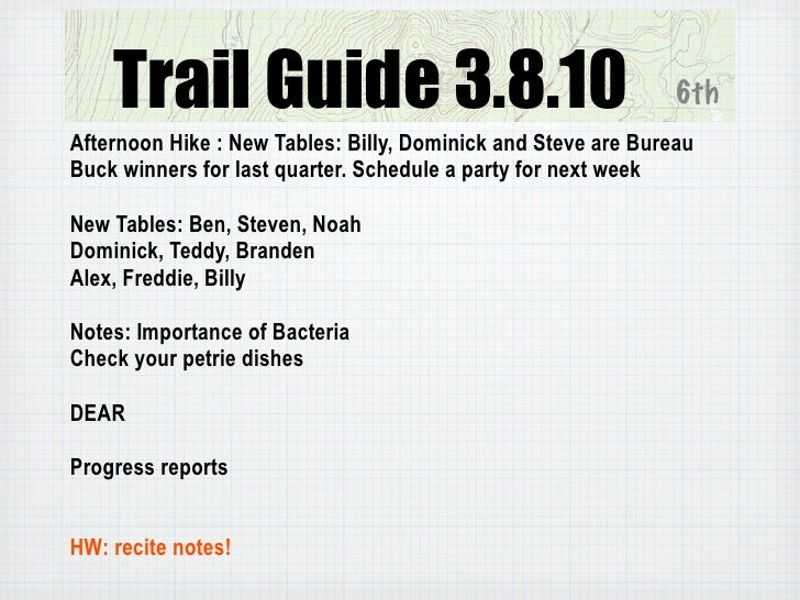 Trail Guide 3.8.10                                         6th Afternoon Hike : New Tables: Billy, Dominick and Steve are ...