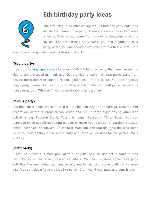 6th Birthday Party Ideas The First Thing To Do After Setting Date