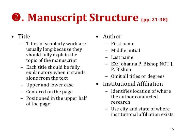apa style manuscript