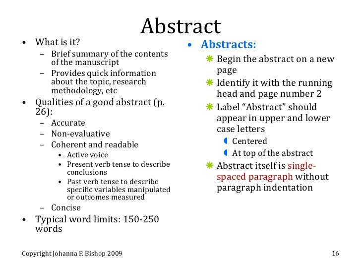 how to write an abstract apa research