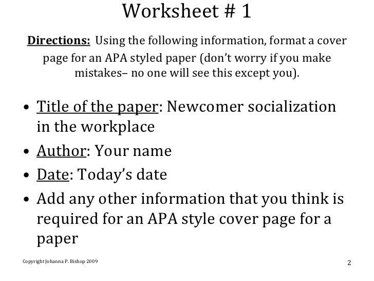 apa style cover sheet