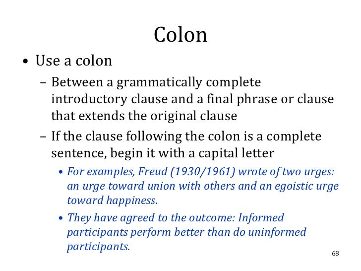 how to use a colon correctly