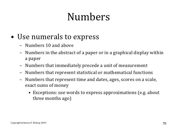 rules for writing numbers