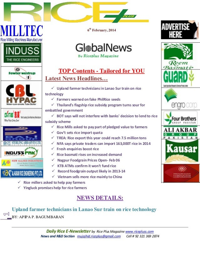 6th February, 2014  TOP Contents - Tailored for YOU Latest News Headlines…  Upland farmer technicians in Lanao Sur train ...