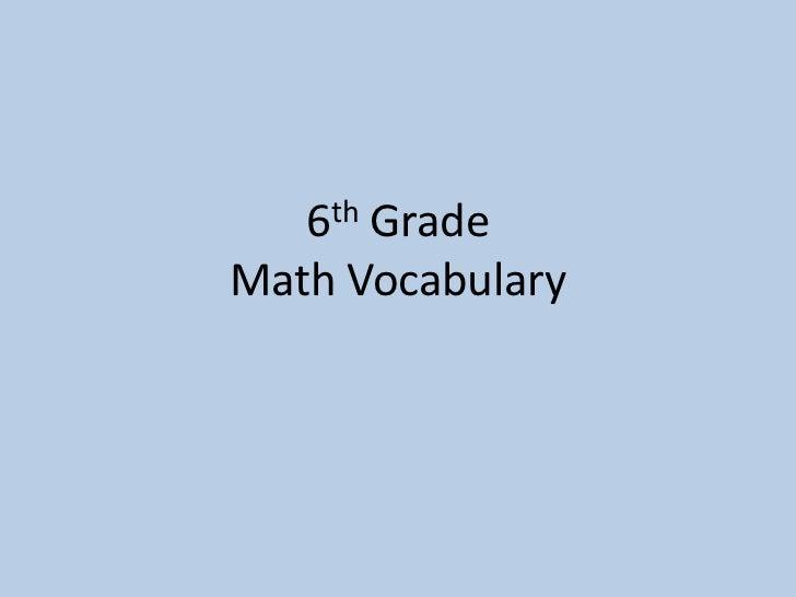 6th GradeMath Vocabulary