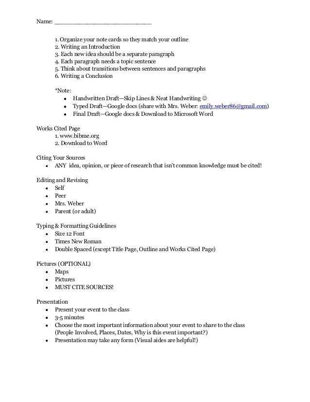 5th grade research paper guidelines