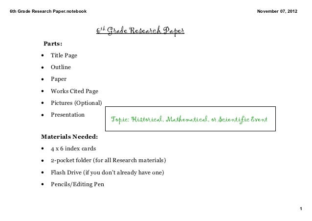 Research Paper 6th Grade