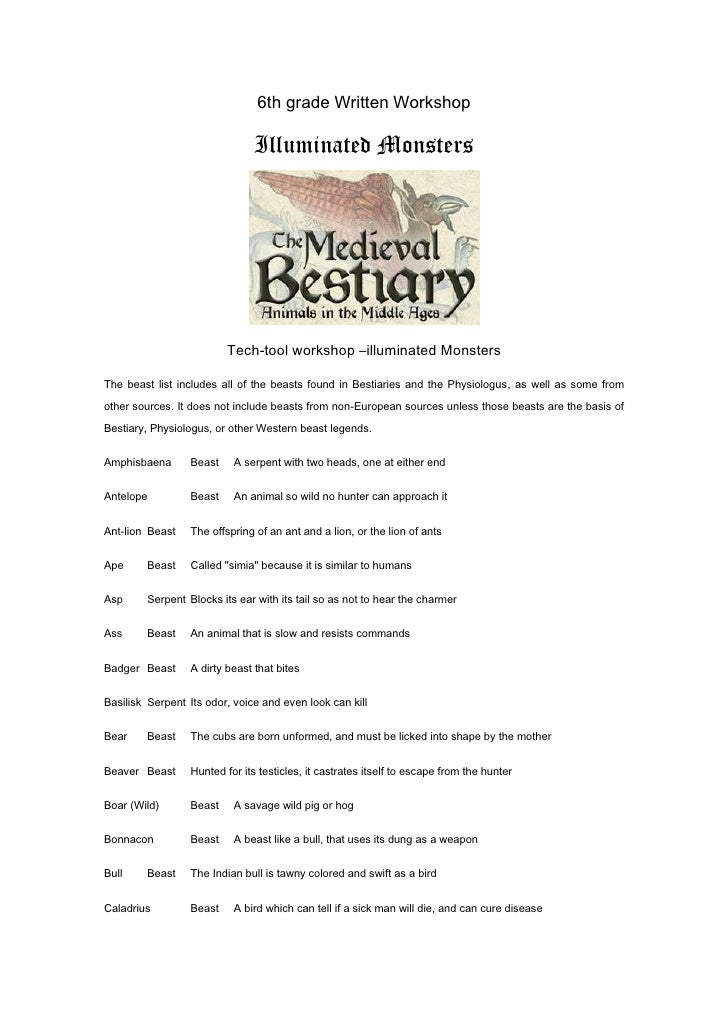 6th grade Written Workshop<br />Illuminated Monsters<br />Tech-tool workshop –illuminated Monsters<br />The beast list inc...