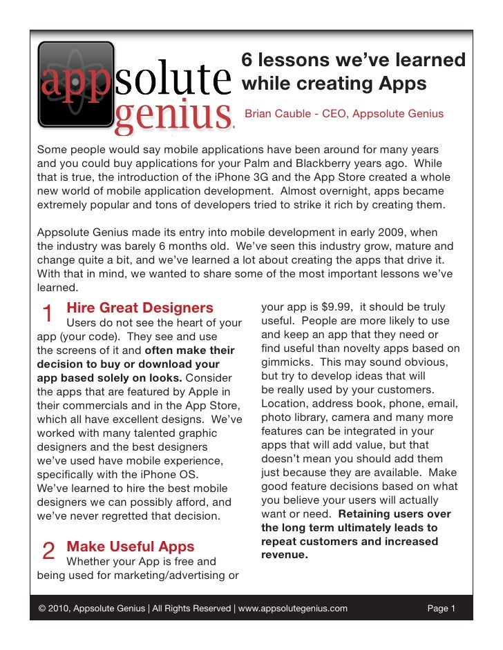 6 lessons we've learned                                                while creating Apps                                ...