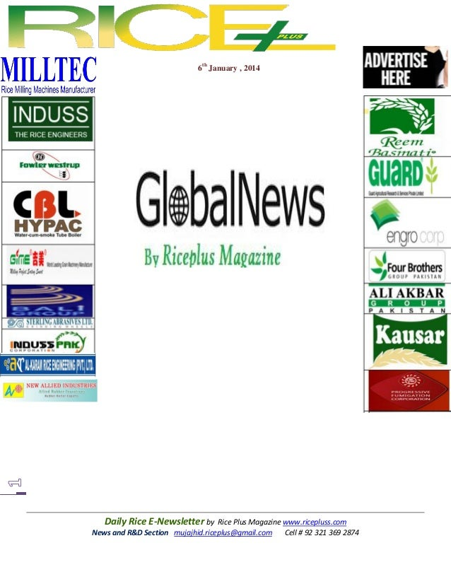6th January , 2014  Daily Rice E-Newsletter by Rice Plus Magazine www.ricepluss.com News and R&D Section mujajhid.riceplus...