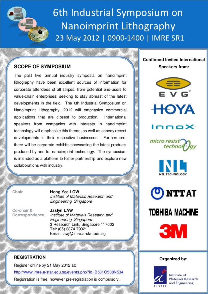 6th Industrial Symposium on                        Nanoimprint Lithography                        23 May 2012 | 0900-1400 ...