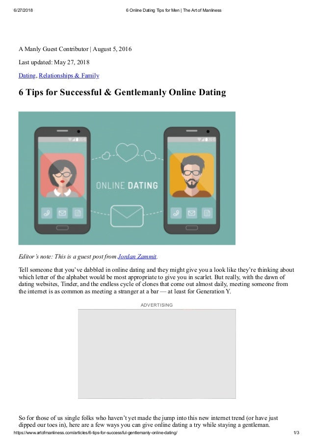 Feature article on internet dating