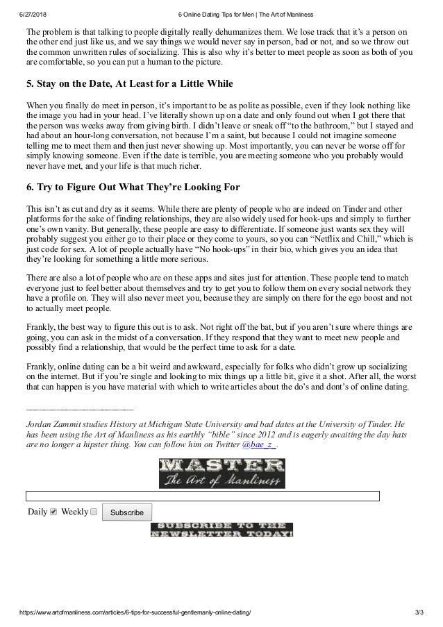 Internet dating tips email newsletter