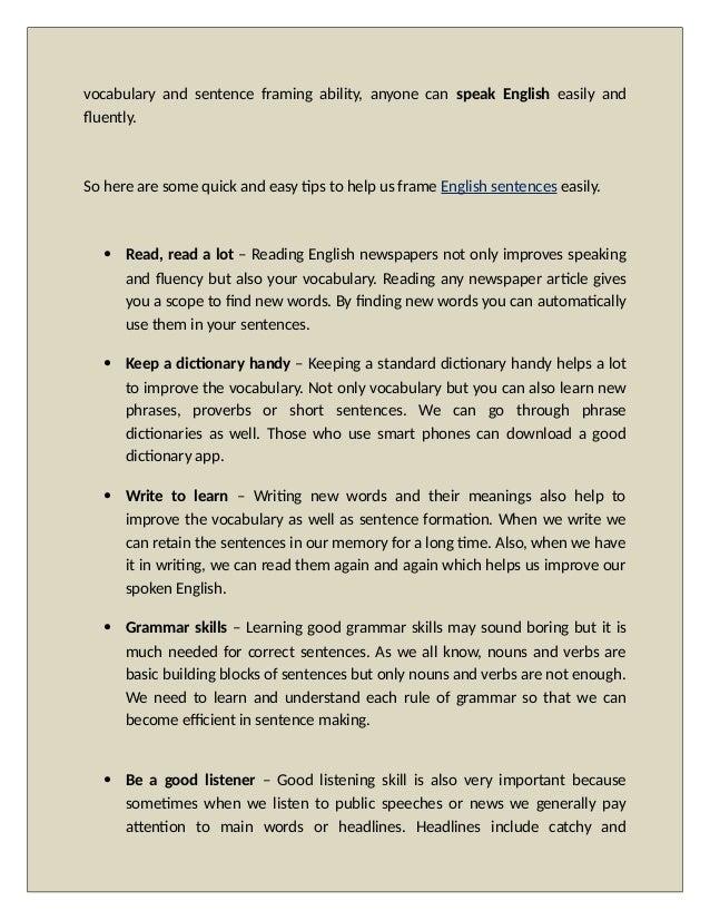 6 Tips To Frame English Sentences