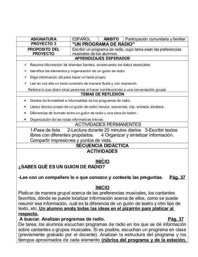 """ASIGNATURA ESPAÑOL ÁMBITO Participación comunitaria y familiar PROYECTO 3 """"UN PROGRAMA DE RADIO"""" PROPOSITO DEL PROYECTO Es..."""