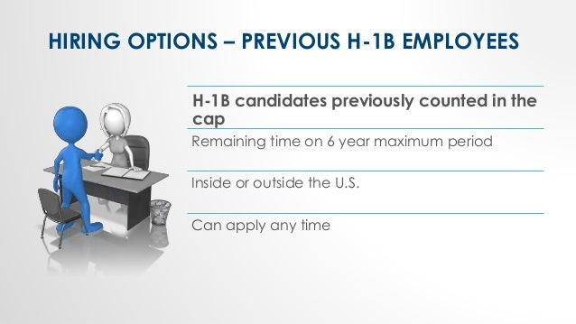 HIRING OPTIONS – PREVIOUS H-1B EMPLOYEES H-1B candidates previously counted in the cap Remaining time on 6 year maximum pe...