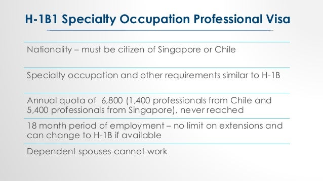 Nationality – must be citizen of Singapore or Chile Specialty occupation and other requirements similar to H-1B Annual quo...