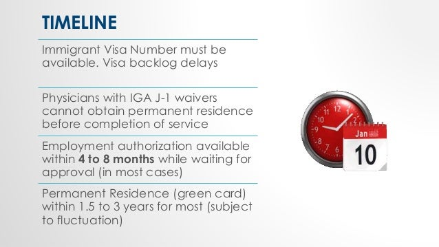 TIMELINE Immigrant Visa Number must be available. Visa backlog delays Physicians with IGA J-1 waivers cannot obtain perman...