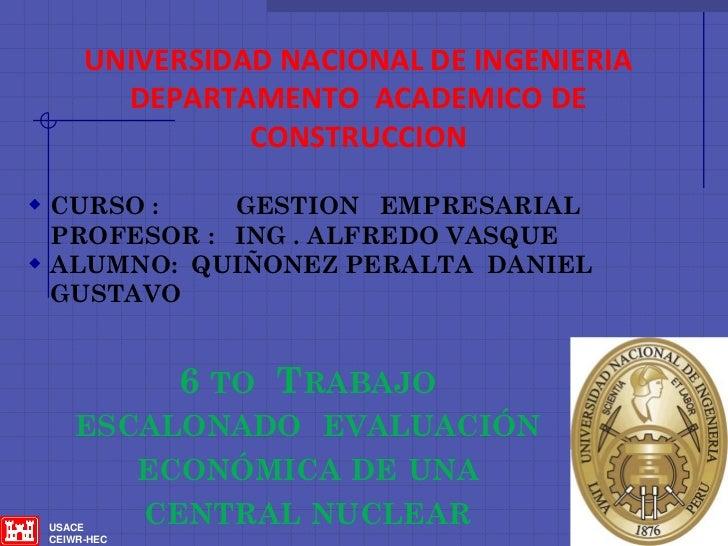 UNIVERSIDAD NACIONAL DE INGENIERIA        DEPARTAMENTO ACADEMICO DE                CONSTRUCCION CURSO :    GESTION EMPRES...