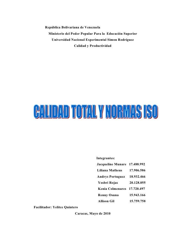 República Bolivariana de Venezuela          Ministerio del Poder Popular Para la Educación Superior            Universidad...