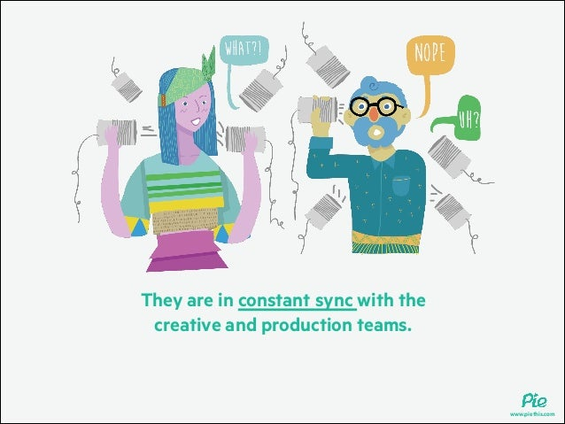 They are in constant sync with the creative and production teams.  www.piethis.com