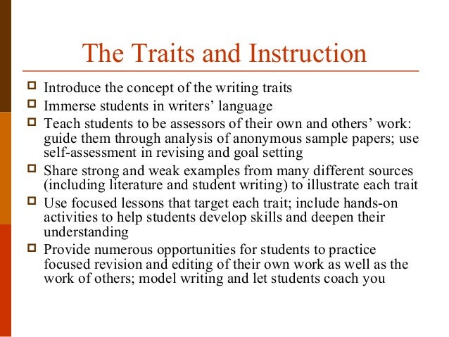 6 traits of writing activities