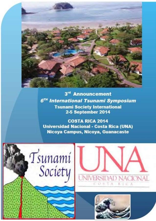 "3"" Announcement  67"" International Tsunami Symposium  Tsunami Socíety International 2-5 September 2014  1 COSTA RICA 2014 ..."