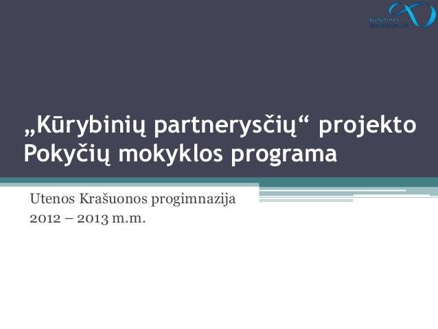 """""""Kūrybinių partnerysčių"""" projektoPokyčių mokyklos programaUtenos Krašuonos progimnazija2012 – 2013 m.m."""