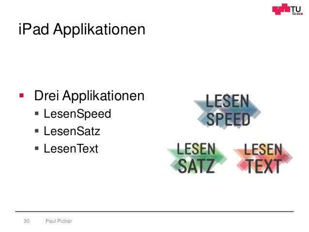 iPad Applikationen Paul Picher30  Drei Applikationen  LesenSpeed  LesenSatz  LesenText
