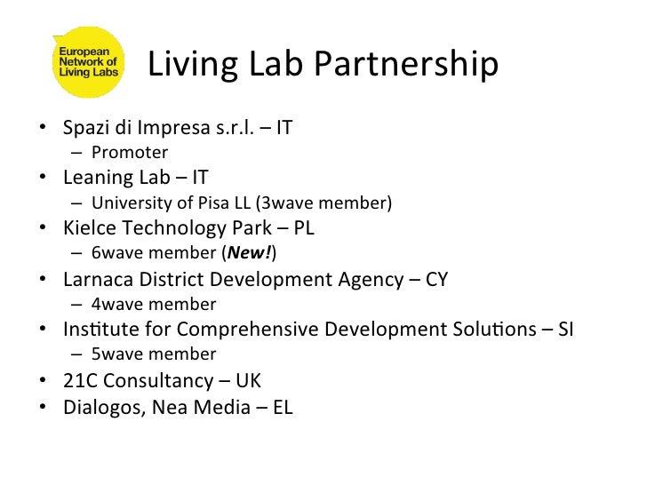 Living Lab Partnership • Spazi di Impresa s.r.l. – IT       – Promoter • Leaning Lab – IT  ...