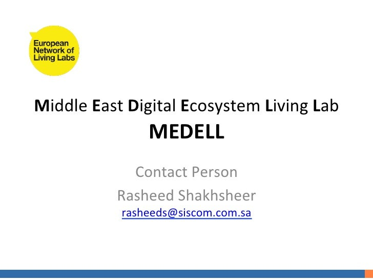 Middle East Digital Ecosystem Living Lab                      MEDELL                  Contact Person    ...