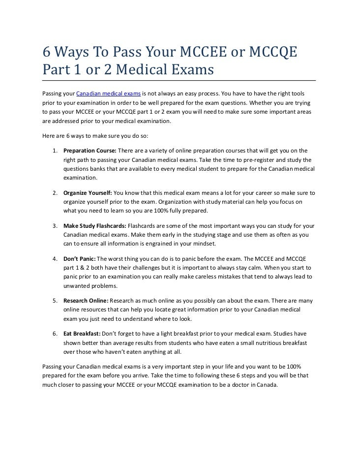 6 Ways To Pass Your MCCEE or MCCQE Part 1 or 2 Medical Exams