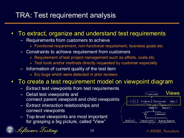 © NISHI, Yasuharu16 TRA: Test requirement analysis • To extract, organize and understand test requirements – Requirements ...