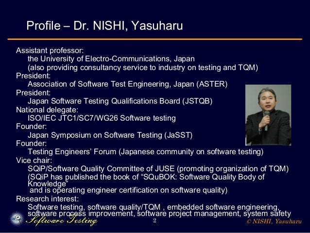 © NISHI, Yasuharu2 Profile – Dr. NISHI, Yasuharu Assistant professor: the University of Electro-Communications, Japan (als...