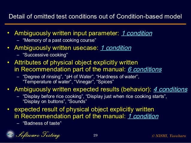 © NISHI, Yasuharu29 Detail of omitted test conditions out of Condition-based model • Ambiguously written input parameter: ...
