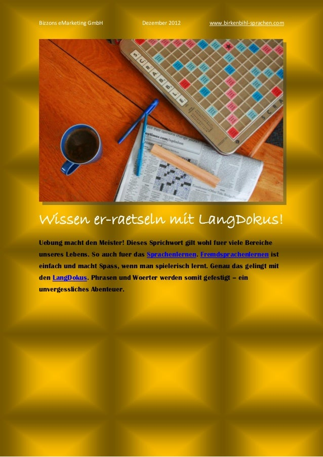 Bizzons eMarketing GmbH         Dezember 2012        www.birkenbihl-sprachen.comWissen er-raetseln mit LangDokus!Uebung ma...