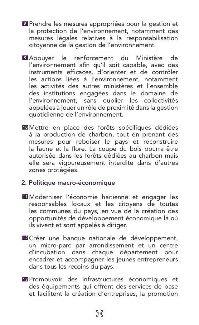 19 Prendre les mesures appropriées pour la gestion et la protection de l'environnement, notamment des mesures légales rela...