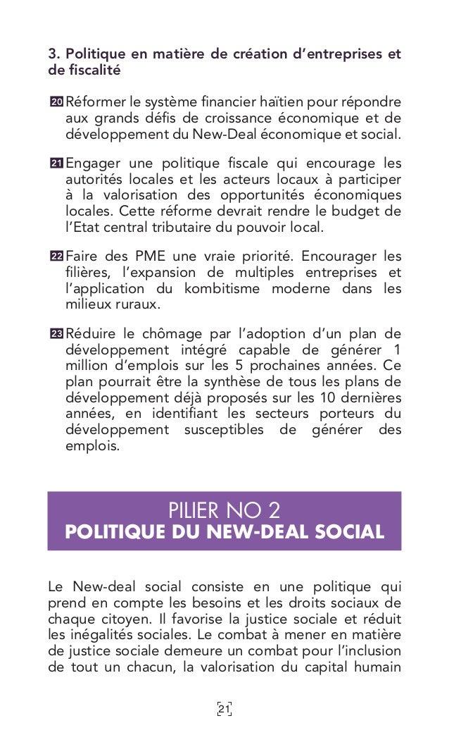 21 3. Politique en matière de création d'entreprises et de fiscalité Réformer le système financier haïtien pour répondre a...