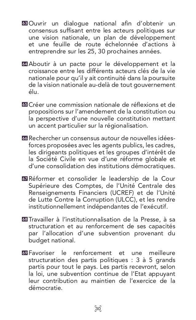 30 Ouvrir un dialogue national afin d'obtenir un consensus suffisant entre les acteurs politiques sur une vision nationale...