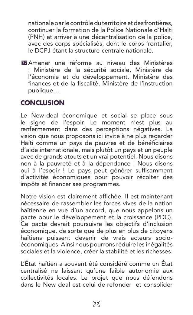 32 nationaleparlecontrôleduterritoireetdesfrontières, continuer la formation de la Police Nationale d'Haïti (PNH) et arriv...